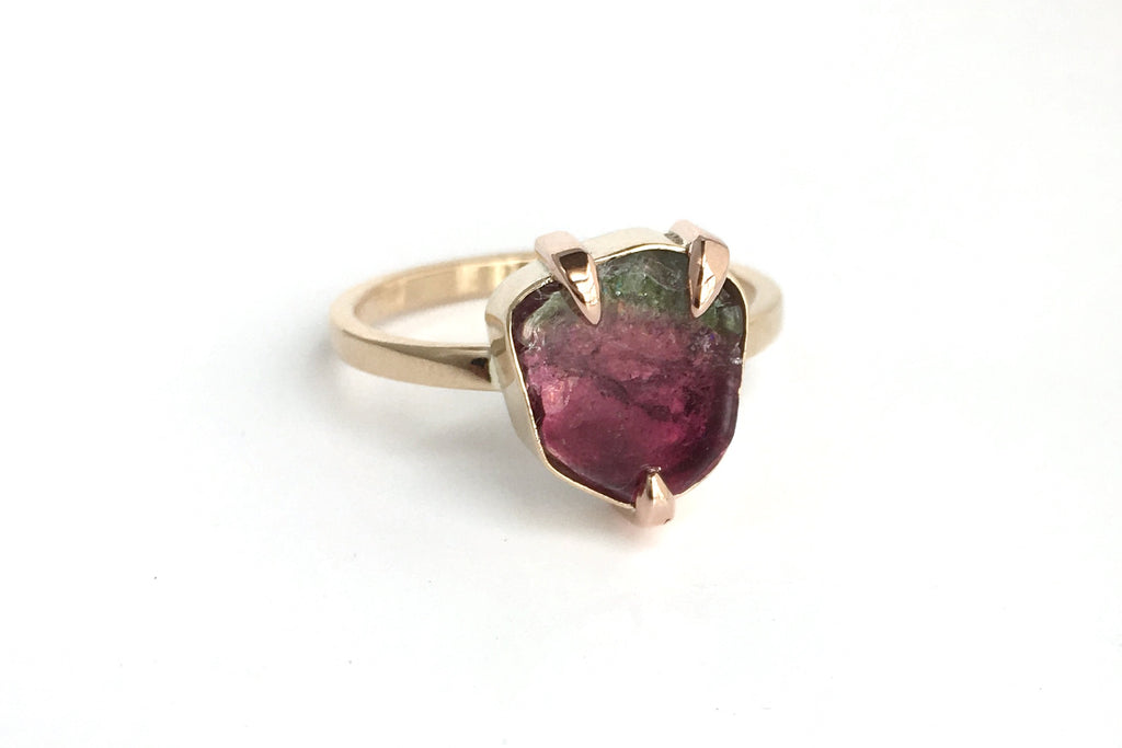 Slice of Heaven: Maine Watermelon Tourmaline Ring in 14k Yellow, Rose and White Gold