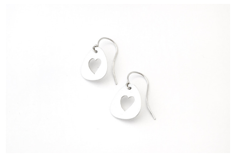 Open Heart: Sterling Silver Earrings