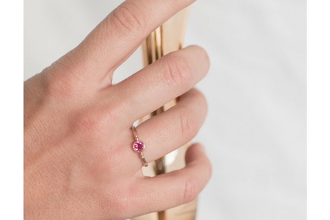 Cosmos: Maine Pink Tourmaline 14k Yellow Gold Ring