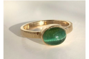 Secret Treasure: Green Catseye Tourmaline and Yellow Gold Ring