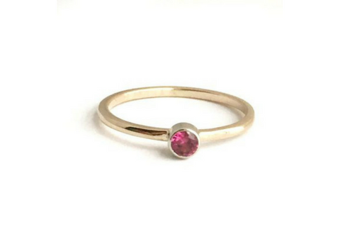 Cosmos: Maine Pink Tourmaline Yellow Gold Ring