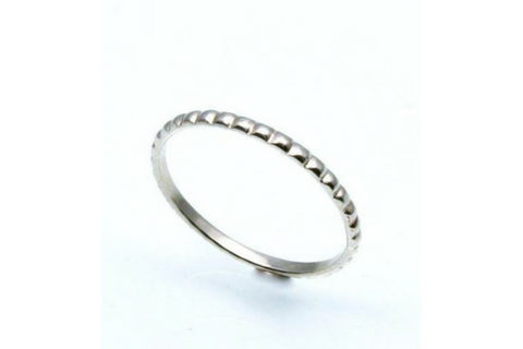 First Kiss: 14k Gold Stackable Skinny Beaded Ring, Sizes 4.5-7.5