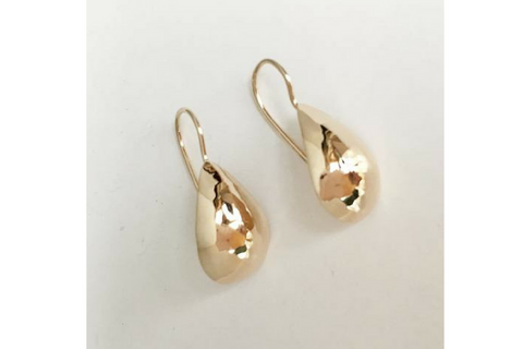 Perfect Puddled Tiny Teardrop 14k Yellow Gold Earrings