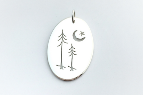 Evergreen Couple and Star: Sterling Silver Pendant