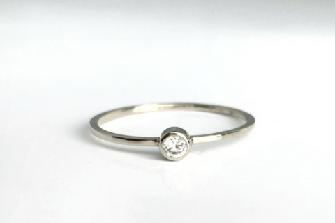 Twinkle; Bezel Set Diamond Ring in 14k White Gold, Handmade in Maine