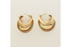 Flared Channel 3/4 Hoop Post Earrings in 14k Yellow Gold