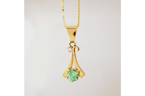 Eucalyptus Green Tourmaline Pendant in 14k Yellow Gold