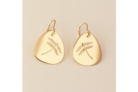 Dragonfly Earring in 14k Yellow Gold