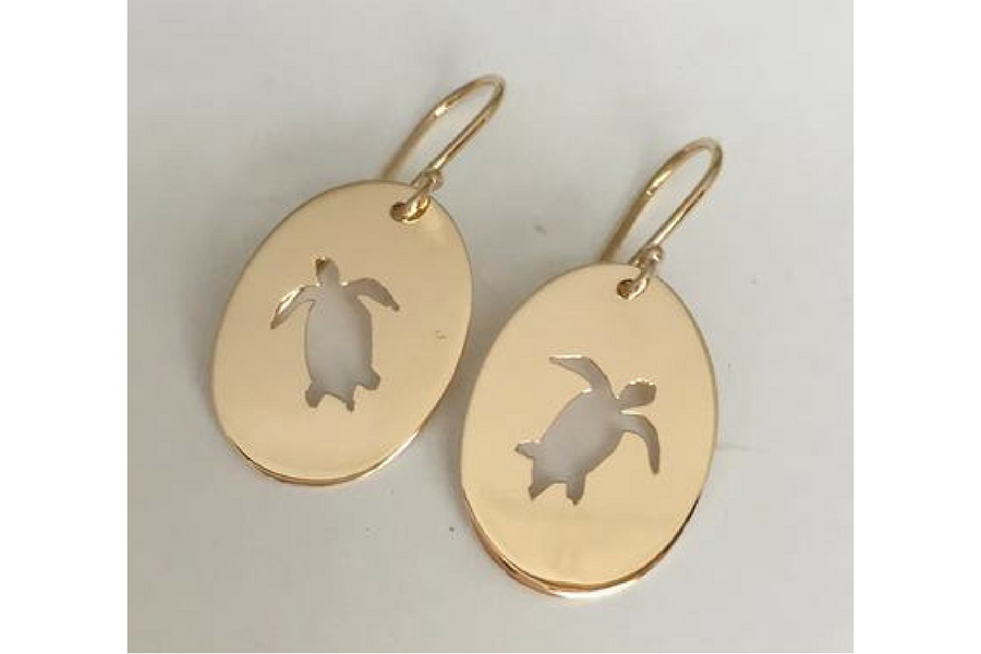 Sea Turtle Cut Out Earrings in 14k Yellow Gold