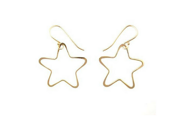Star Dangle Earrings in 14k Yellow Gold