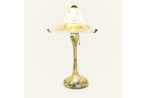Gold Murrini Falred Shade: Two Piece Glass Lamp By Carl Radke