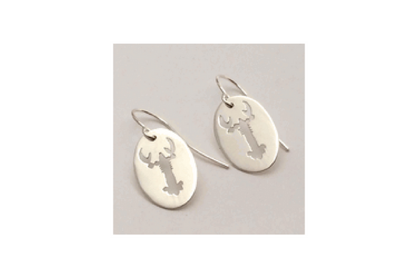 Maine Lobster Sterling Silver Cut Out Earrings