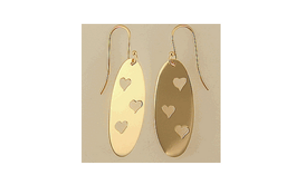 Heart Trio Cut Out Earrings in 14k Yellow Gold