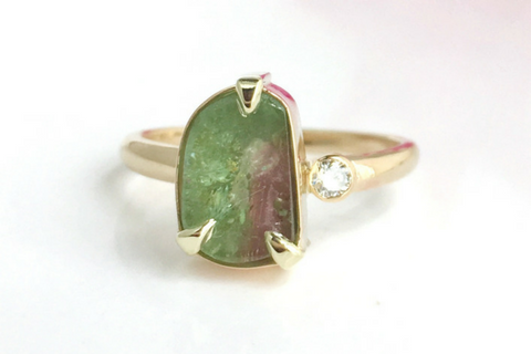 Harmony: Maine Watermelon Tourmaline and Diamond 14k Yellow Gold  Ring