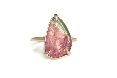Sun Kissed: Maine Tourmaline Ring in 14k Yellow Gold