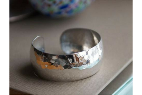 Perfectly Puddled: Sterling Silver Bracelet Wide