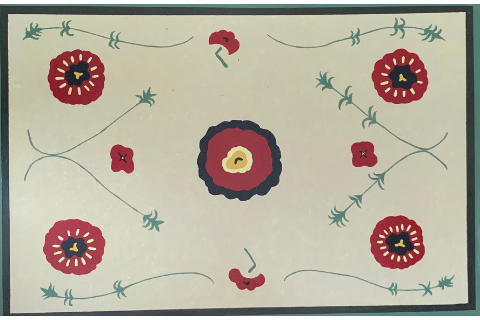 Red Flowers Floormat by Sandra Smith