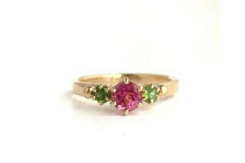 Beach Rose: Maine Pink and Green Tourmaline Yellow Gold Ring