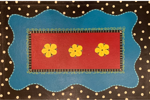 Yellow Flowers Floormat by Sandra Smith