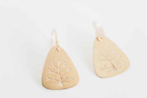 Tree Of Life Earrings in 14k Yellow Gold Large