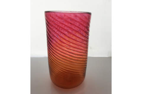 Orange and Pink Glass Tumbler by Zug Glass