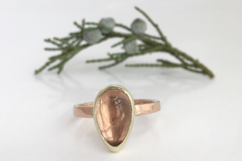 Champagne: Pink Maine Tourmaline with Rose and Yellow Gold Ring
