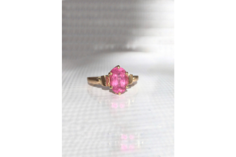 Bubble Gum Pink: Pink Maine Tourmaline and Yellow Gold
