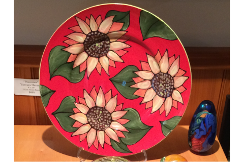 Sunflower Platter by Lacey Pots Pottery