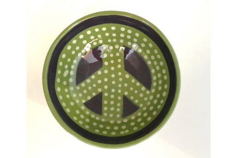 Green Peace Sign Bowl by Lacey Pots Pottery