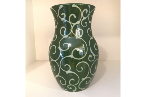 Green Swirl Vase By Lacey Pots Pottery