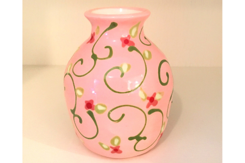 Pink Floral Vase By Lacey Pots Pottery