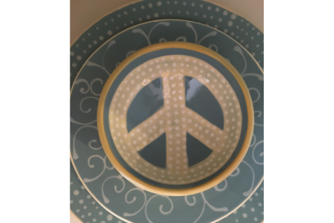 Light Blue Peace Sign Bowl by Lacey Pots Pottery