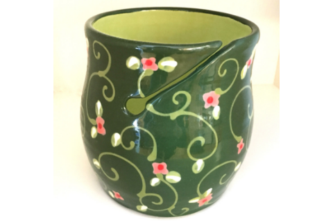 Green Knitting Bowl By Lacey Pots Pottery