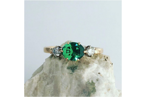 Emerald Pool Green Maine Tourmaline Diamond Yellow Gold Ring