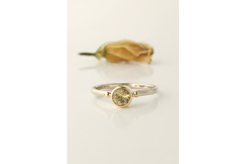 Daisy; Maine Yellow Tourmaline 14k Solid Gold Ring