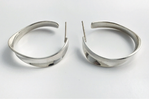 Wave 3/4 Hoops: Sterling Silver Earrings