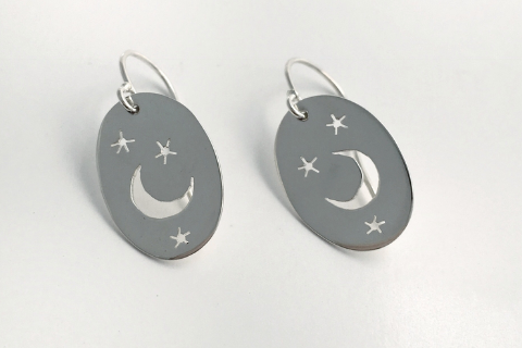 Moon and Stars: Sterling Silver Earrings