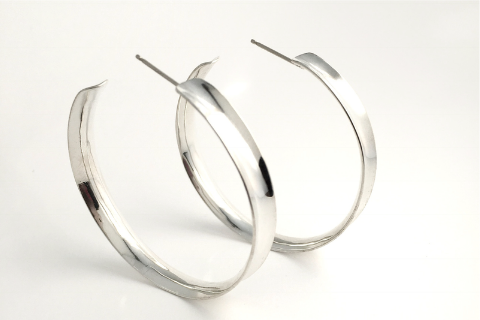 Channel Hoops: Sterling Silver Earrings