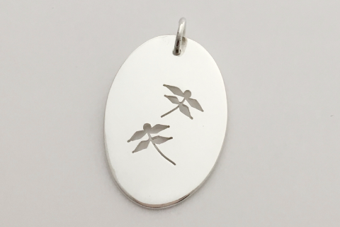 Double Dragonfly: Sterling Silver Pendant