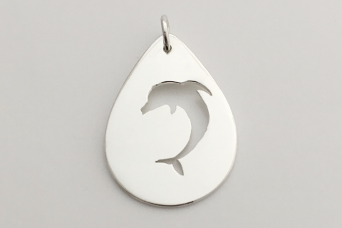 Swimming Dolphin: Sterling Silver Pendant