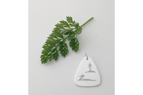 Loon and Evergreen: Sterling Silver Pendant