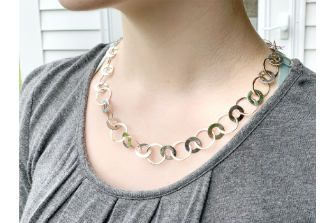 Double Circles Silver Necklace