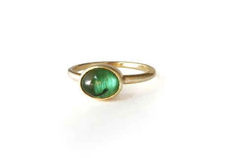 Pine Hill: Maine Green Tourmaline 14K Yellow Gold Ring