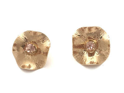 Pink Hibiscus: Yellow Gold and Pink Tourmaline Earrings