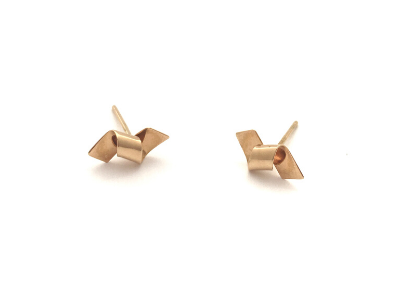 Tiny Ribbons 14k Yellow Gold Earrings