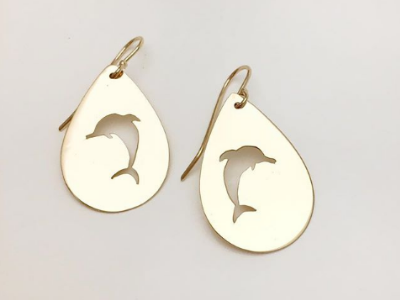 Swim with the Dolphins: Earrings in 14k Gold