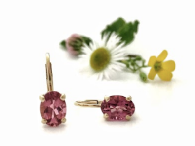 Rosie: Maine Tourmaline Earrings set in 14k Yellow Gold