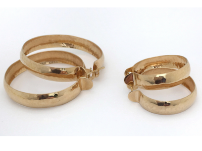 Gold Hammered Hoop Earring