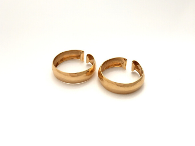 Hammered Hoop Clip-Ons: Gold Earrings