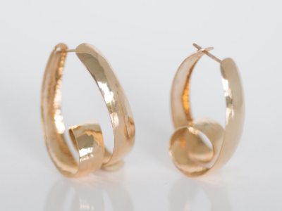 Perfectly Puddled Loop-n-loop: Self-locking 14k Yellow Gold Earring
